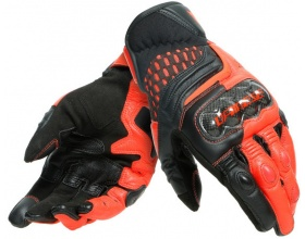 DAINESE Carbon 3 Short Gloves black/fluo red